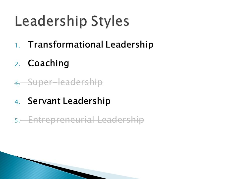 Leadership Styles Transformational Leadership Coaching