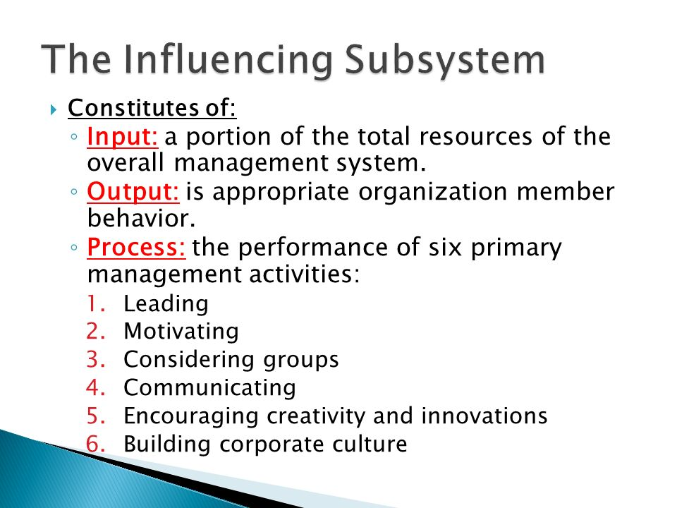 The Influencing Subsystem