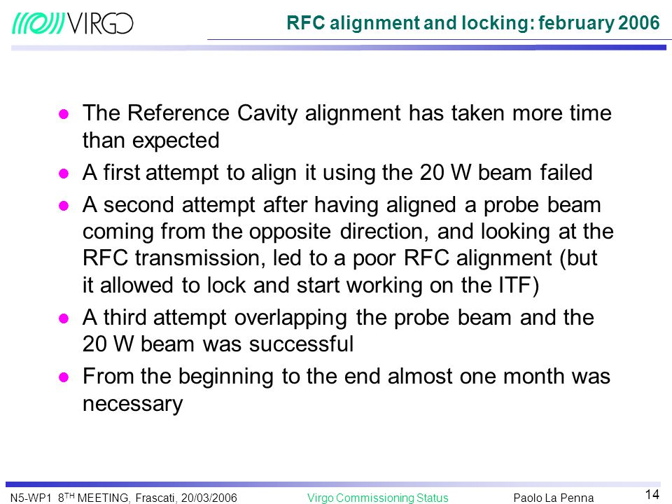 RFC alignment and locking: february 2006