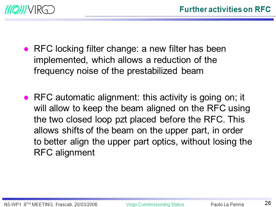 Further activities on RFC