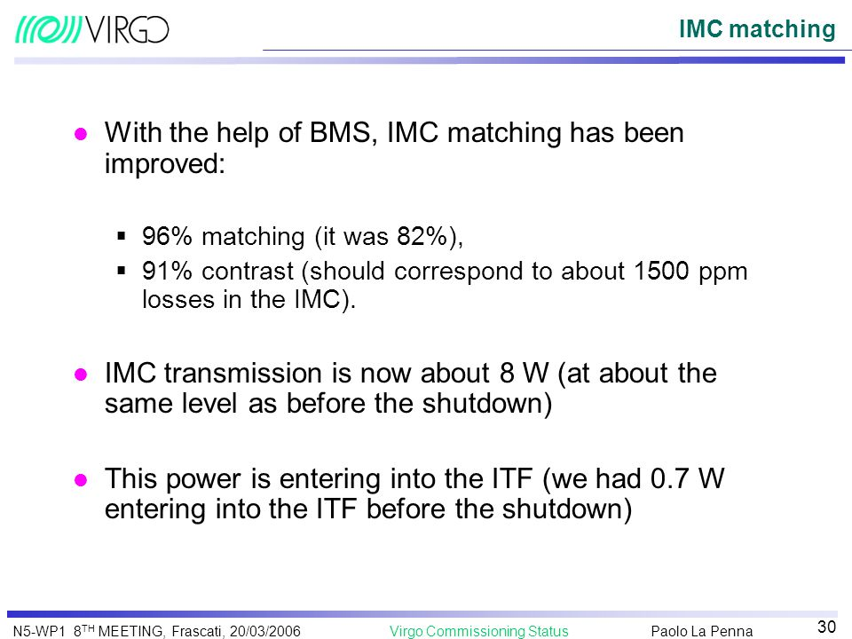 With the help of BMS, IMC matching has been improved: