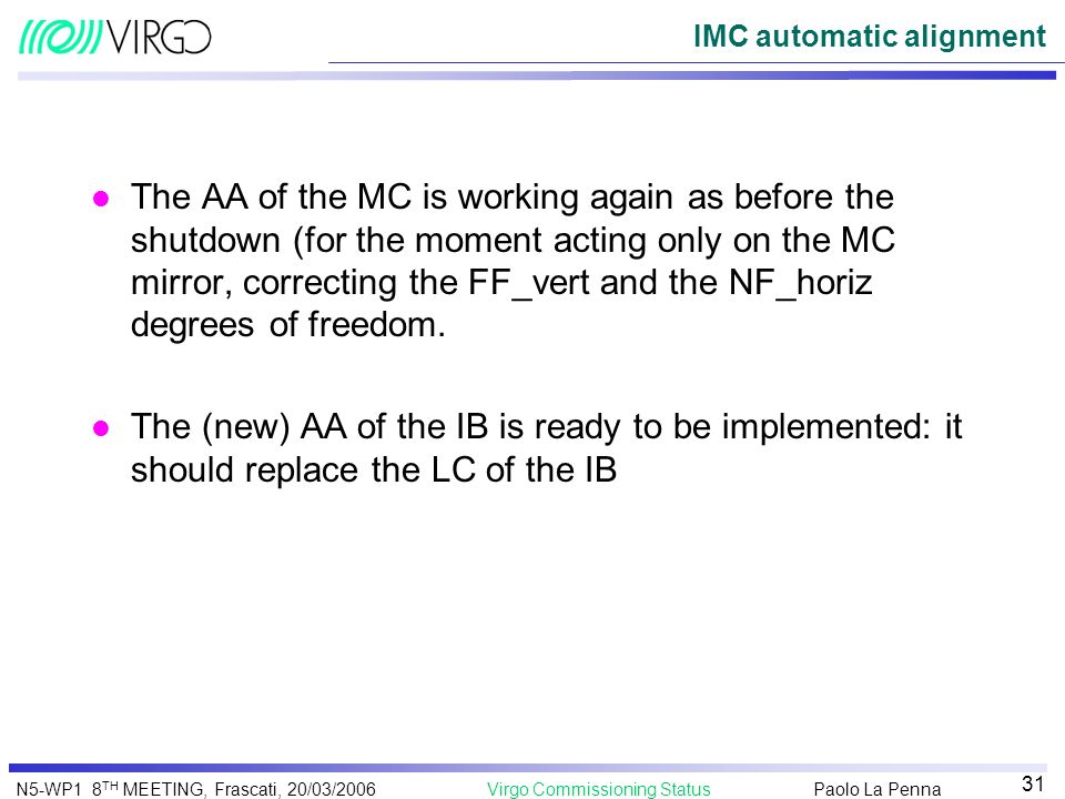 IMC automatic alignment