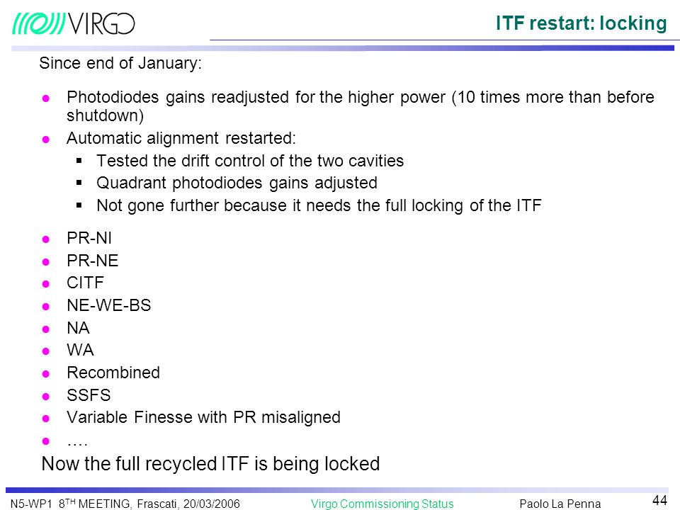 Now the full recycled ITF is being locked