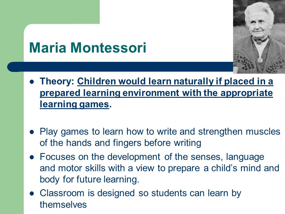 maria montessoris approach to education Maria montessori-- an outspoken promoter of peace --spread her message about the important connection between early education and peace.