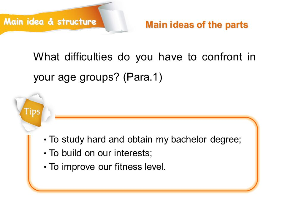 What difficulties do you have to confront in your age groups (Para.1)