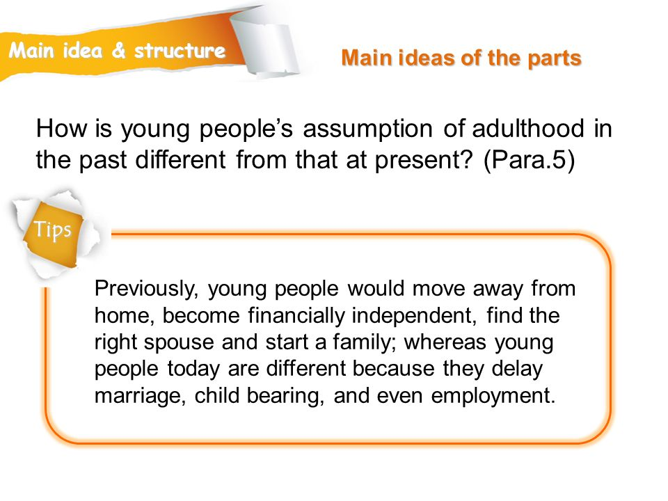 Main ideas of the parts Main idea & structure. How is young people's assumption of adulthood in the past different from that at present (Para.5)