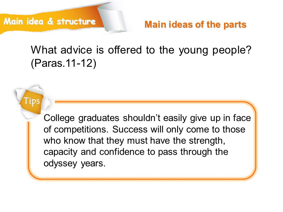 What advice is offered to the young people (Paras.11-12)