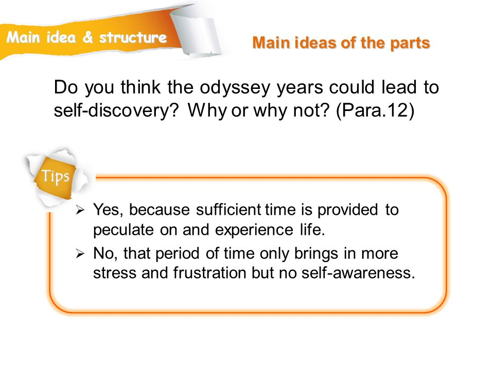 Main ideas of the parts Main idea & structure. Do you think the odyssey years could lead to self-discovery Why or why not (Para.12)
