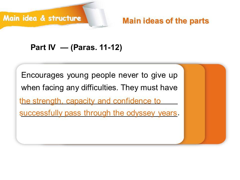 Main ideas of the parts Part IV — (Paras. 11-12)