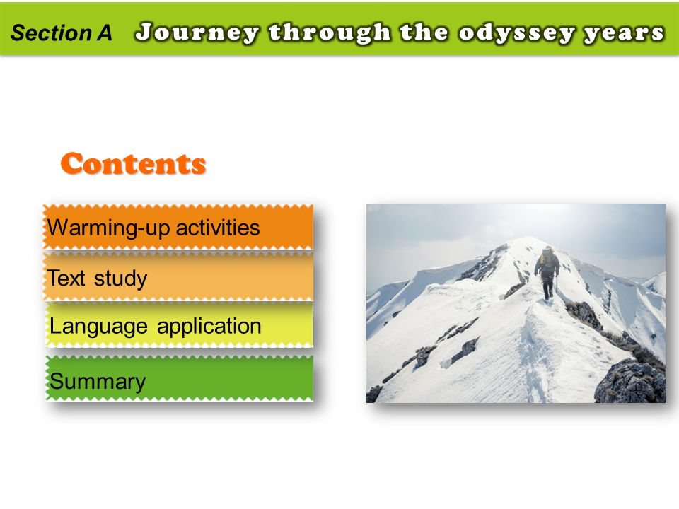 Contents Journey through the odyssey years Section A