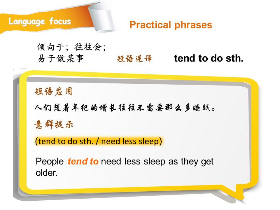 Practical phrases tend to do sth. 短语应用 意群提示 倾向于;往往会;易于做某事 短语逆译