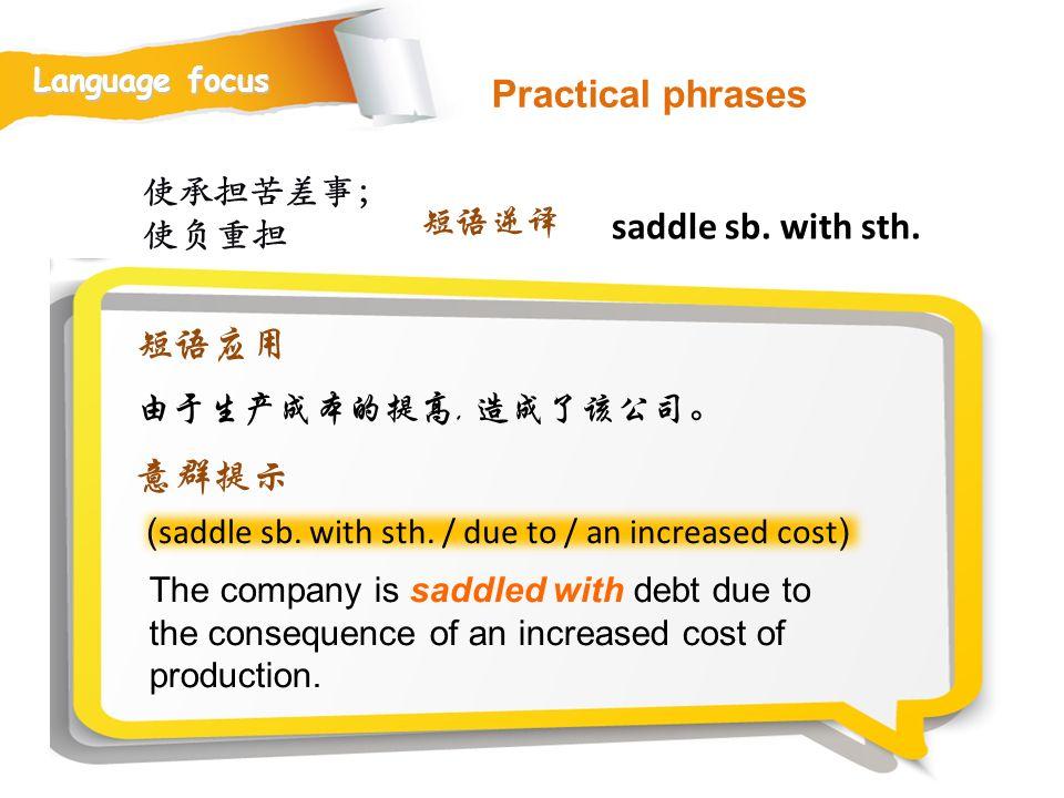 Practical phrases saddle sb. with sth. 短语应用 意群提示 使承担苦差事;使负重担 短语逆译