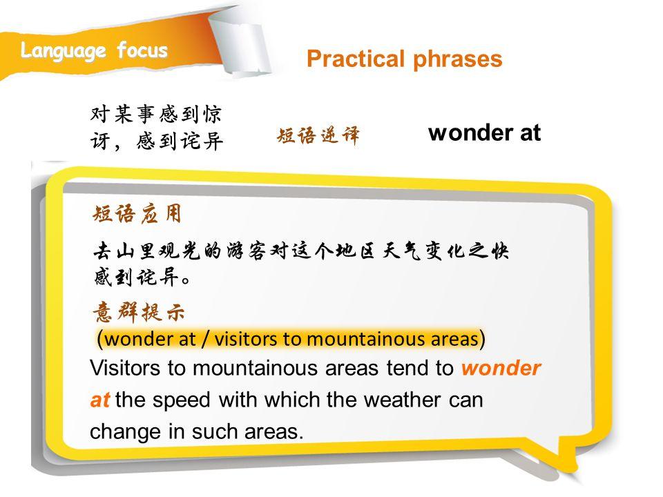Practical phrases wonder at 短语应用 意群提示 对某事感到惊讶,感到诧异 短语逆译
