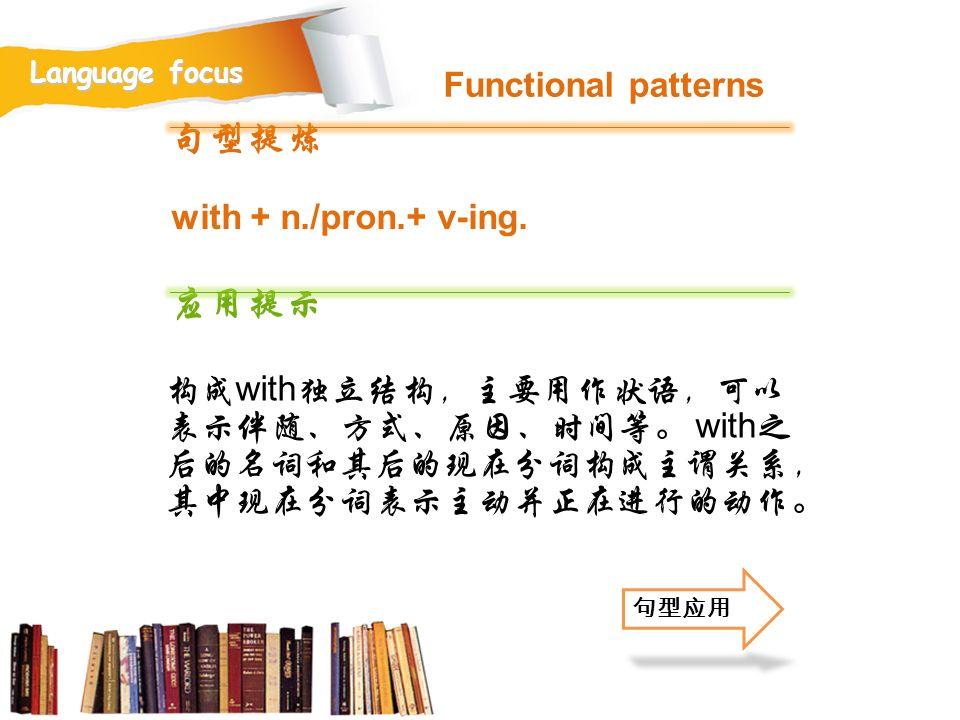 句型提炼 应用提示 Functional patterns with + n./pron.+ v-ing.