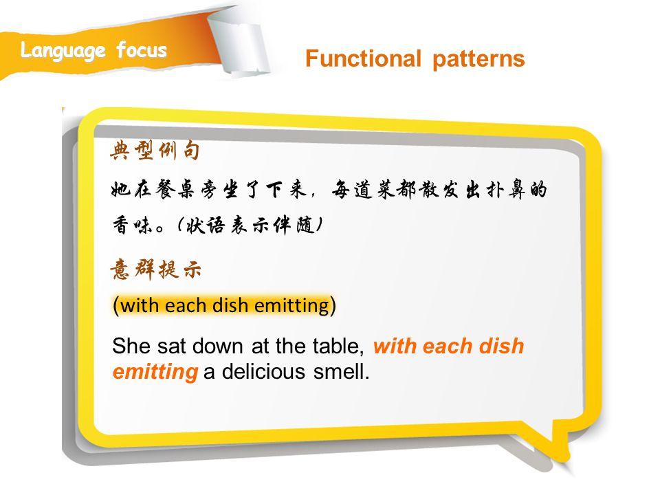 Functional patterns 典型例句 意群提示 她在餐桌旁坐了下来,每道菜都散发出扑鼻的香味。(状语表示伴随)