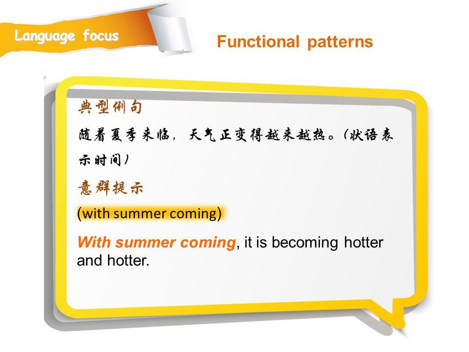 Functional patterns 典型例句 意群提示 随着夏季来临,天气正变得越来越热。(状语表示时间)
