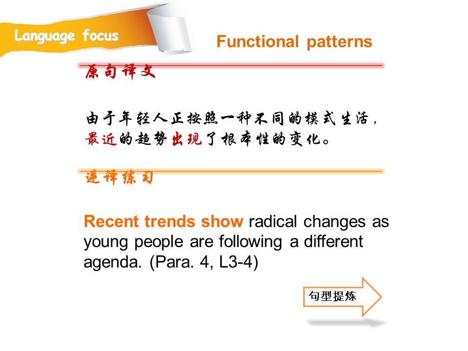 原句译文 逆译练习 Functional patterns 由于年轻人正按照一种不同的模式生活,最近的趋势出现了根本性的变化。