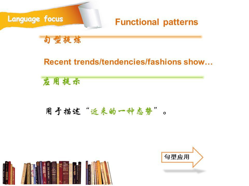 句型提炼 应用提示 Functional patterns 用于描述 近来的一种态势 。