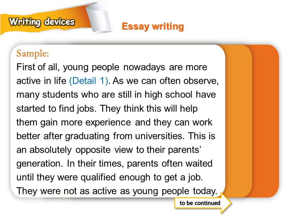 Writing devices Essay writing. Sample: