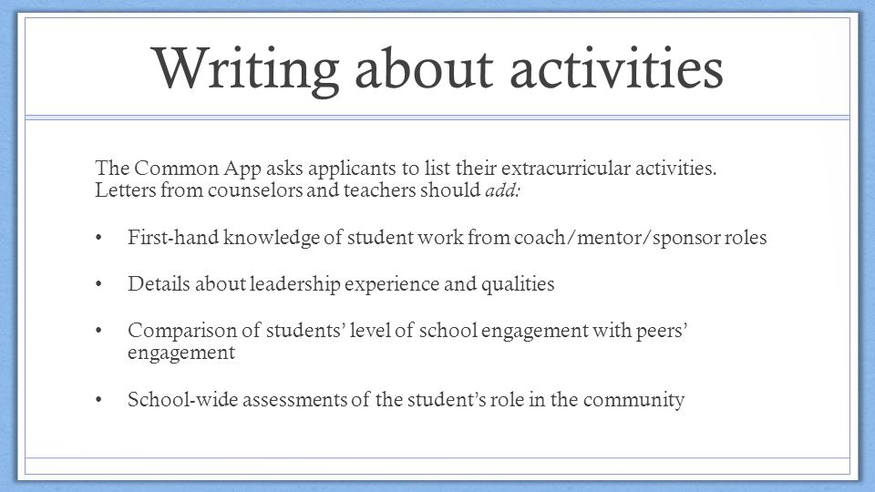 common app extracurricular activity on babysitting Ideas for extracurricular activities africa american domestic issues immigration  childcare/babysitter clerical or secretarial work coffee shop or restaurant worker.