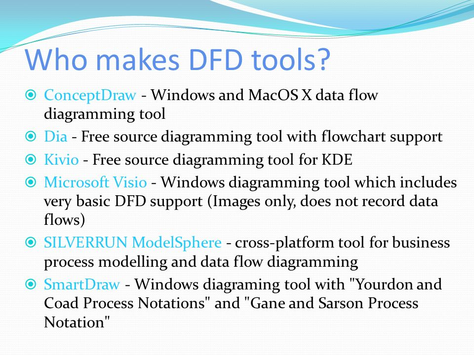 who makes dfd tools conceptdraw windows and macos x data flow diagramming tool dia - Dfd Tools