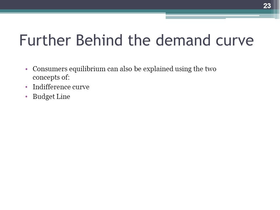 Further Behind the demand curve
