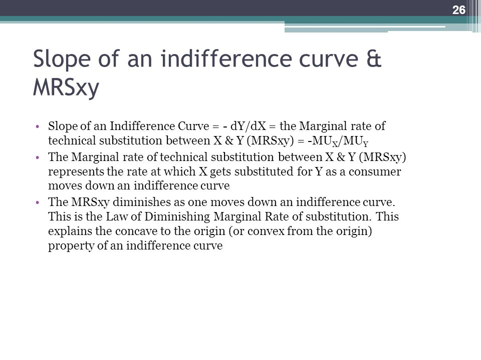 Slope of an indifference curve & MRSxy