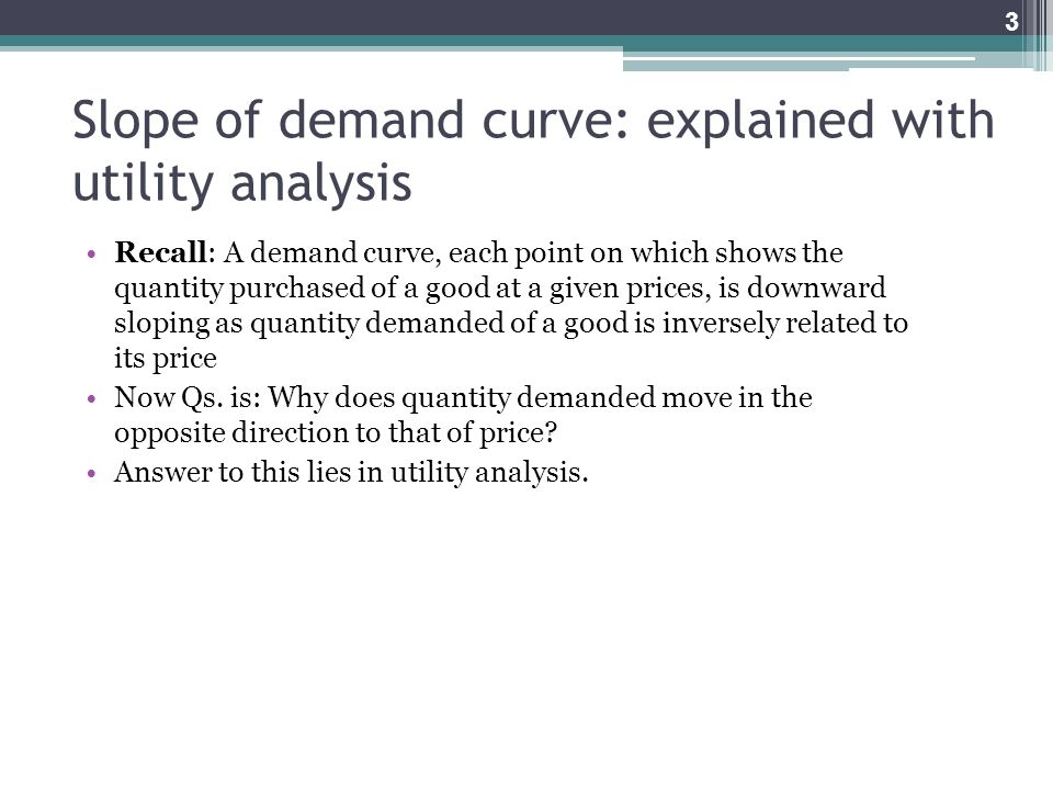 Slope of demand curve: explained with utility analysis