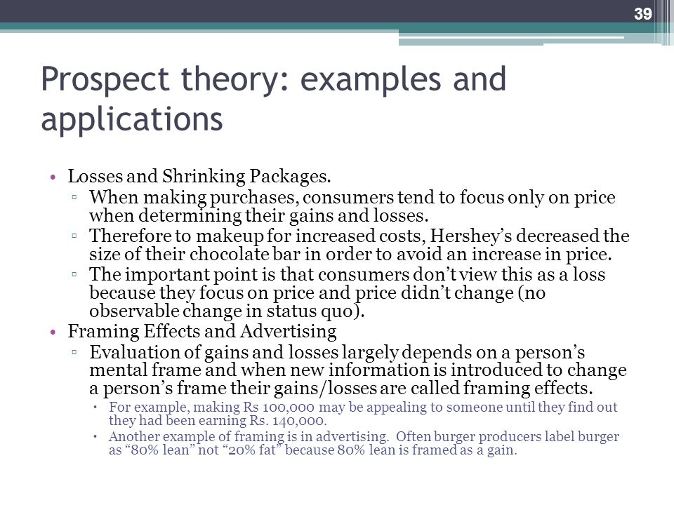 Prospect theory: examples and applications