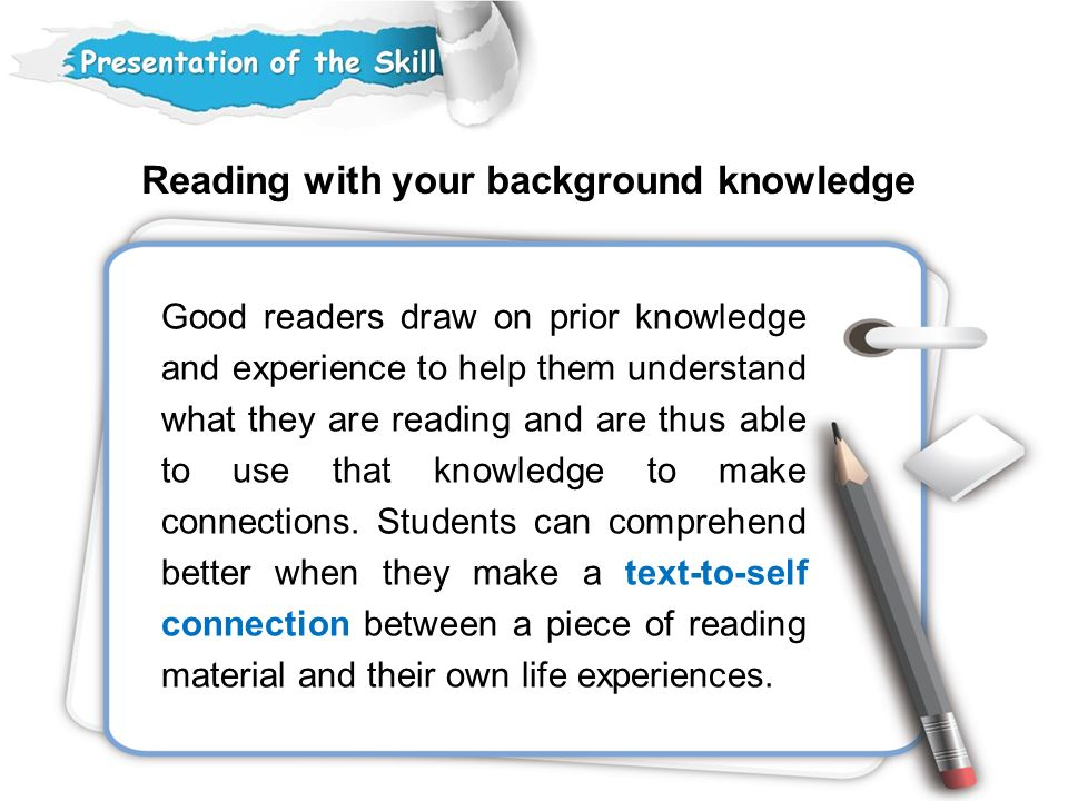 Reading with your background knowledge