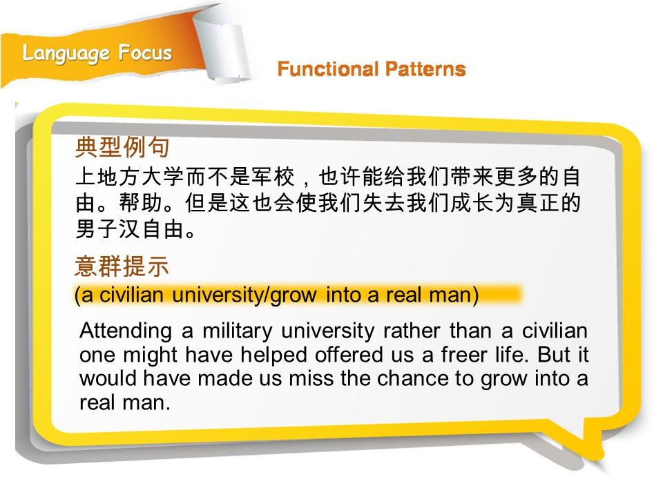 典型例句 意群提示 上地方大学而不是军校,也许能给我们带来更多的自由。帮助。但是这也会使我们失去我们成长为真正的男子汉自由。