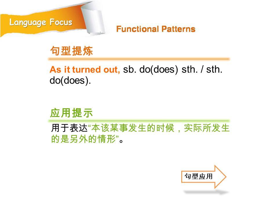 句型提炼 应用提示 As it turned out, sb. do(does) sth. / sth. do(does).