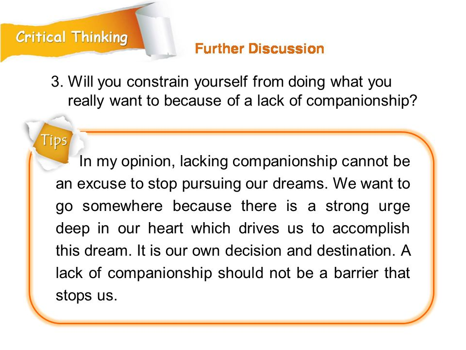 3. Will you constrain yourself from doing what you