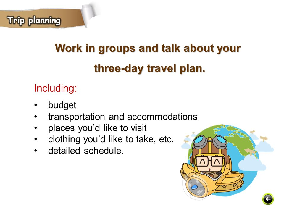 Work in groups and talk about your three-day travel plan.