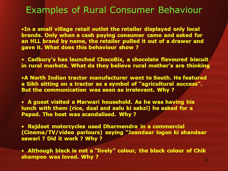 changing indian rural consumer behaviour Description contributed by members of wwwmbaguysnet changing indian rural consumer behaviour-soaps and detergents date of submission shri chinai college of commerce and economics project.