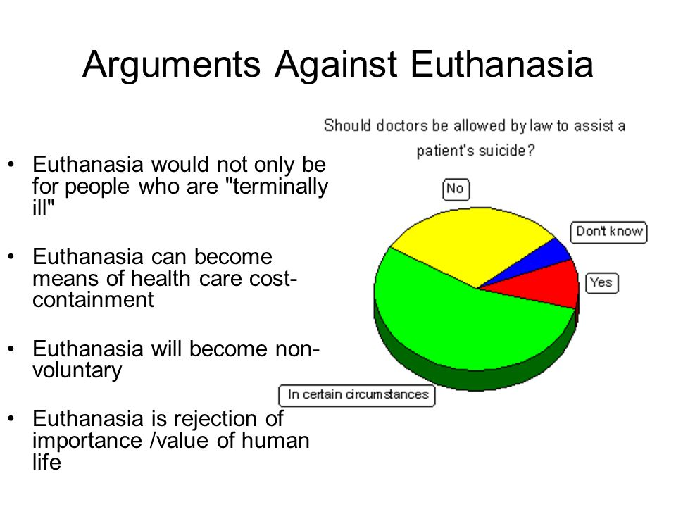 "an argument in favor of recognizing euthanasia as a form of mercy to the people who are suffering Christianity began to erode the arguments supporting suicide, which was seen   10 l bradbury ""euthanasia in the netherlands: recognising mature minors in   forms where individuals who are thought to undesirable are killed in a more  18  call to allow 'suffering from life' mercy killings nederlandse vereniging, 16."