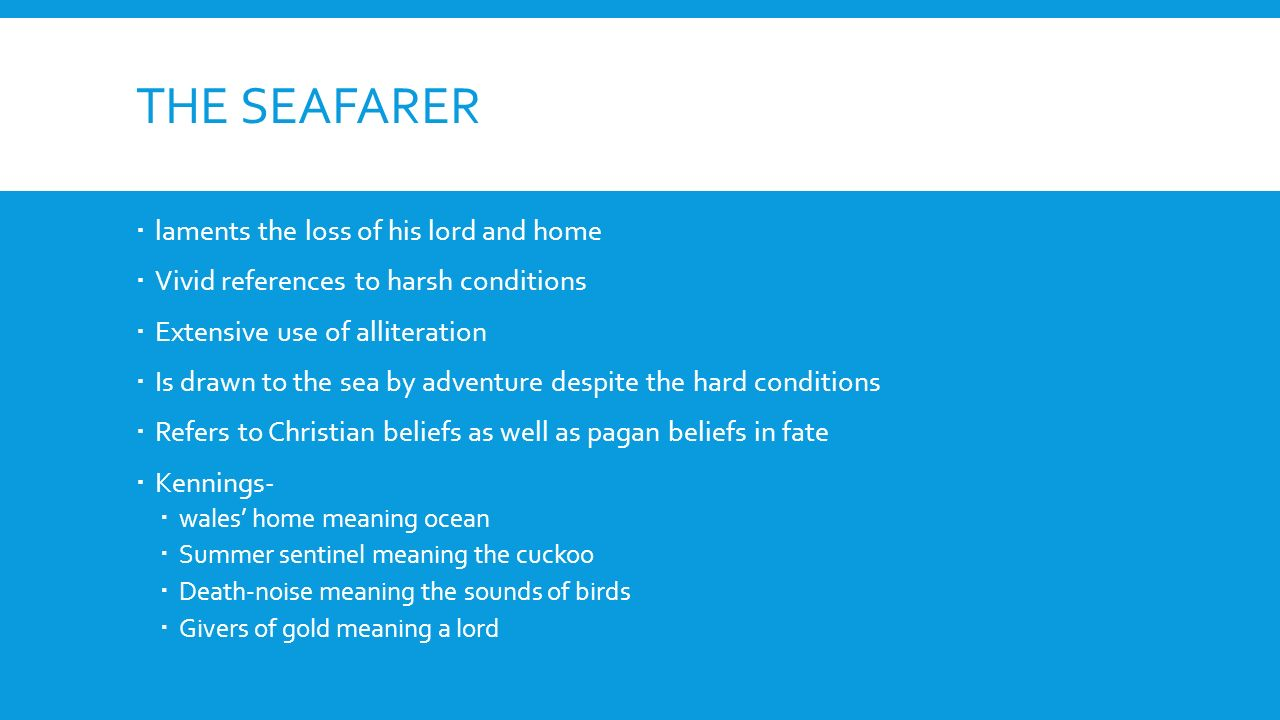 'the seafarer' as an anglo saxon elegy It has most often, though not always, been categorised as an elegy containing the seafarer, in the anglo-saxon poetic records in 1936.