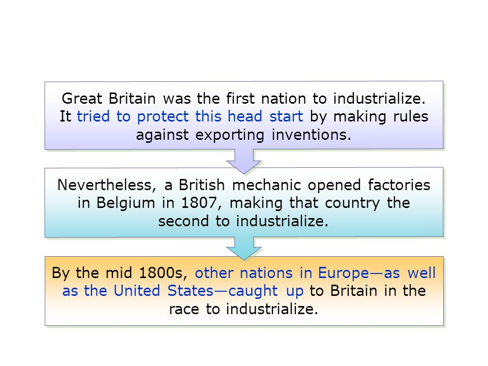 why was great britain the first country to industrialize They were the first to adopt scientific farming and an agricultural revolution england has a mobile and abundant work force, many entrepreneurs and problem solvers/inventors with its abundant natural resources and ready markets, off it went.