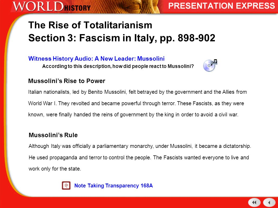 the description of dictatorship through the rule of benito mussolini What is fascism benito mussolini and entry for the italian encyclopedia on the definition , which can never be permanently leveled through the mere.