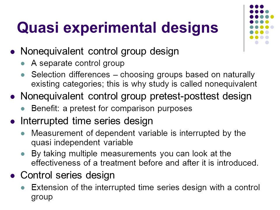 experimental and quasi experimental designs The following youtube video, quasi-experiments, provides a more detailed discussion regarding threats to validity in quasi-experimental research designs, with an emphasis on selecting the appropriate research design to maximize validity and reduce threats.