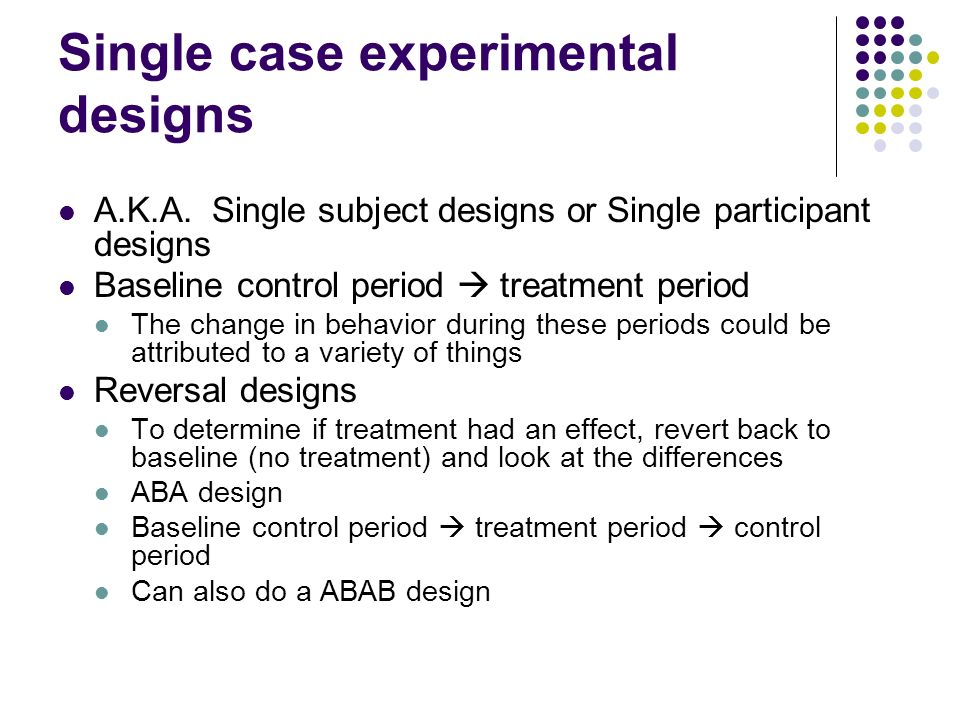 """single case design """"single subject research (also known as single case experiments) is popular in the fields of special education and counseling this research design is useful when the researcher is attempting to change the behavior of an individual or a small group of individuals and wishes to document that change."""