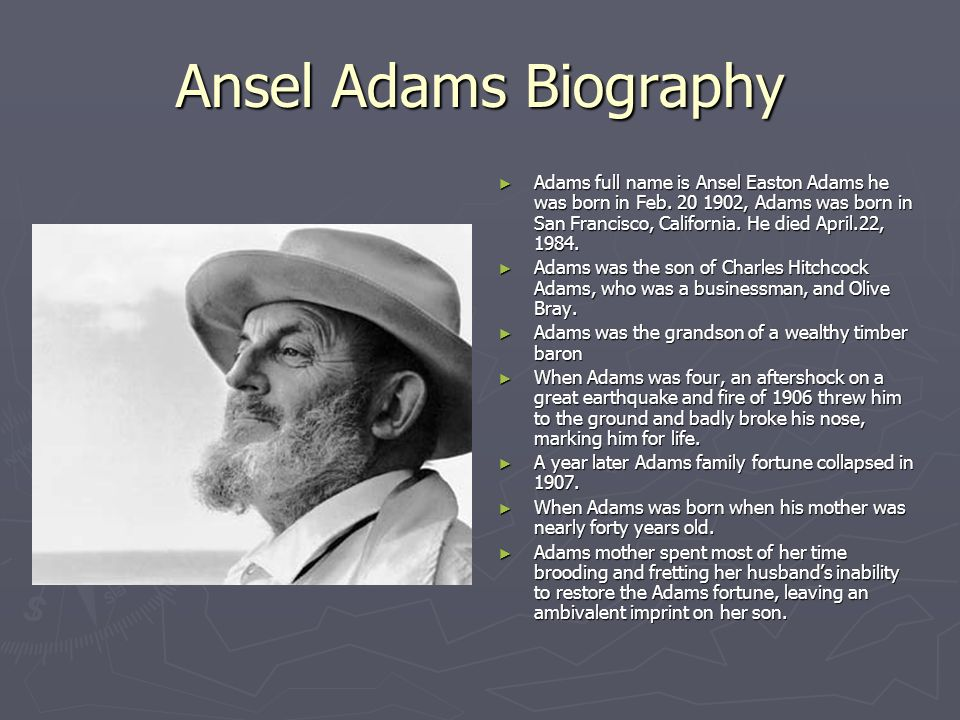 biography of ansel adams The john muir exhibit - people - ansel adams (ansel adams and the american landscape: a biography by jonathan spaulding, (university of california press.