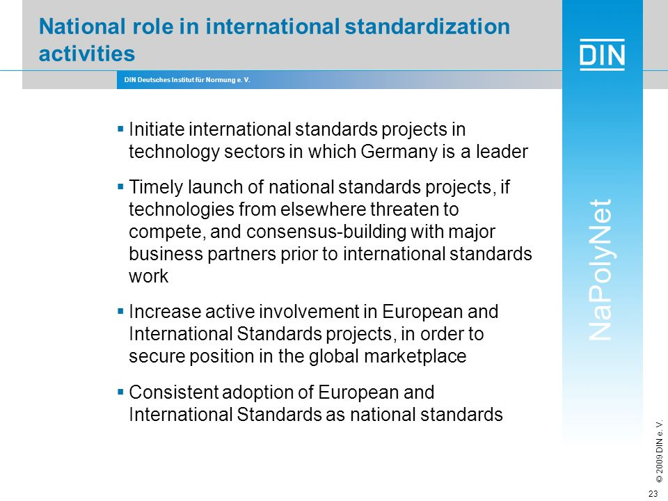 National role in international standardization activities