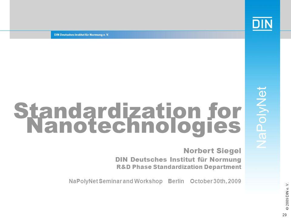 Standardization for Nanotechnologies