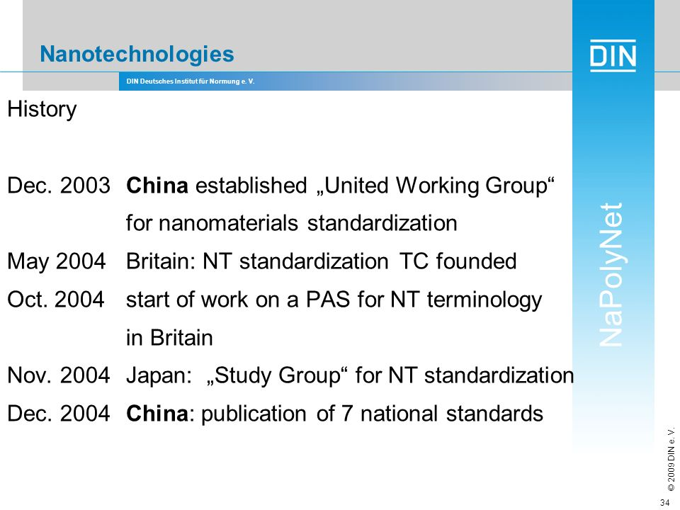 "Nanotechnologies History. Dec. 2003 China established ""United Working Group for nanomaterials standardization."
