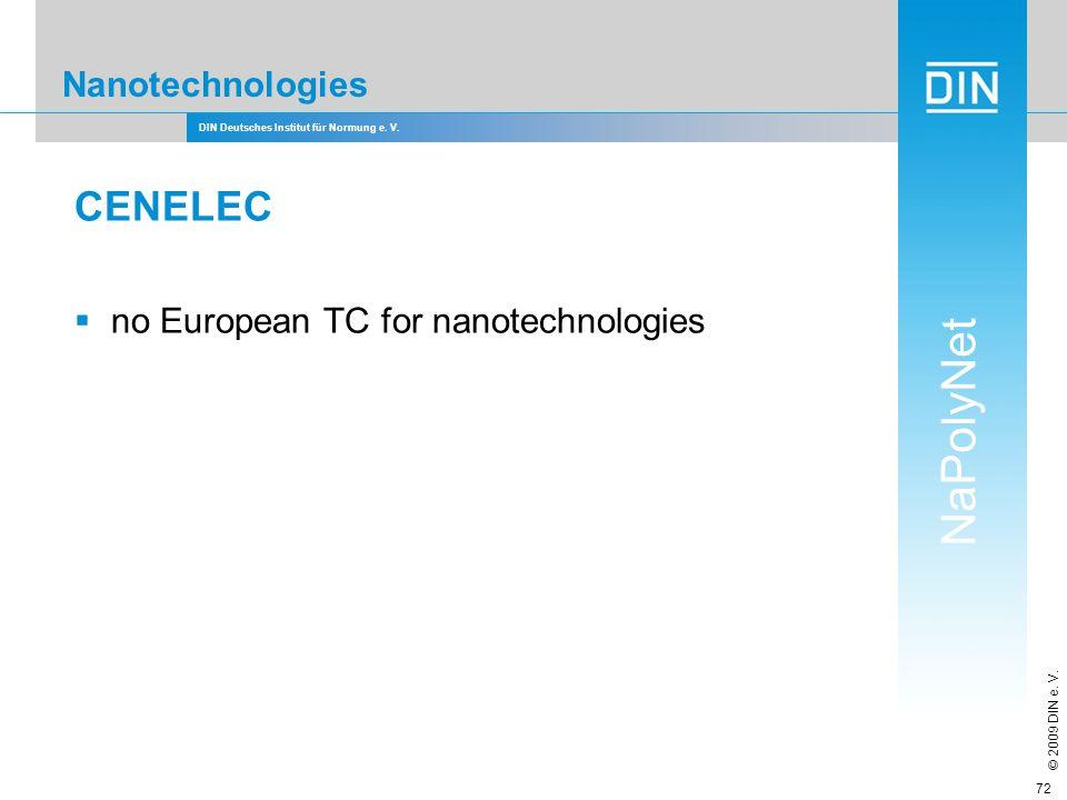 CENELEC Nanotechnologies no European TC for nanotechnologies