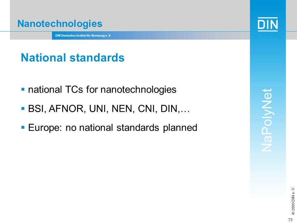 National standards Nanotechnologies national TCs for nanotechnologies