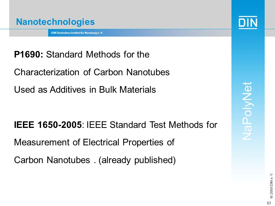 P1690: Standard Methods for the Characterization of Carbon Nanotubes
