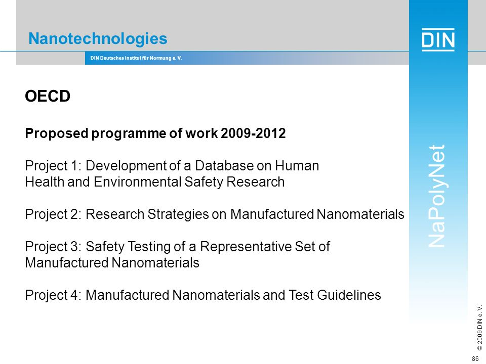 Nanotechnologies OECD Proposed programme of work 2009-2012