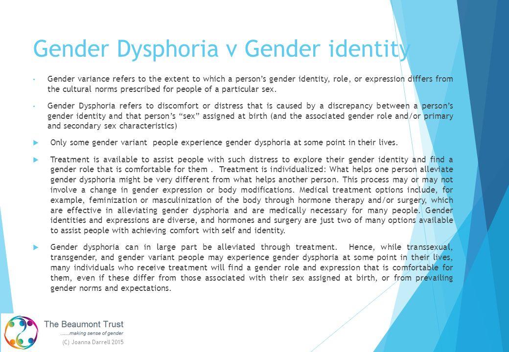 Gender Dysphoria v Gender identity